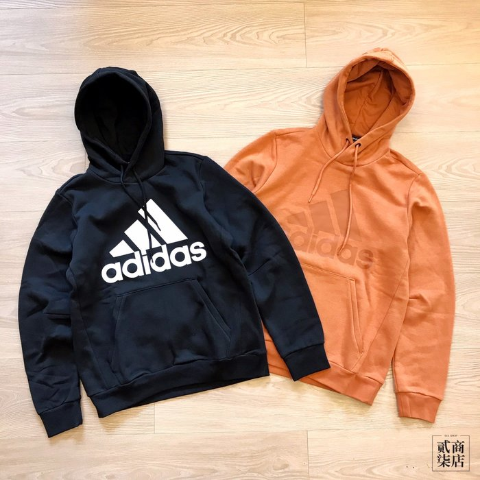 (貳柒商店) adidas Ess Hoodie 男款 刷毛 帽T 基本款 黑色 DT9945 土黃色 EB5249