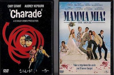 日版DVD-謎中謎(Charade)奧黛麗赫本(Audrey Hepburn)送台版DVD媽媽咪呀(Mamma Mia)