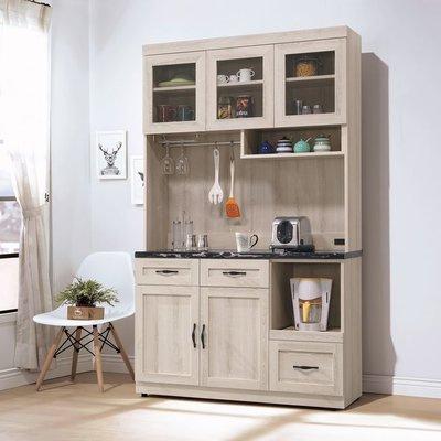 【HB378-04】潔西石面4尺餐櫃(黑石)