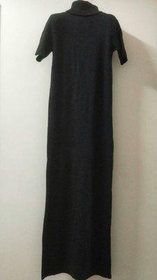日本 COMME 黑色高翻領 針織長洋裝