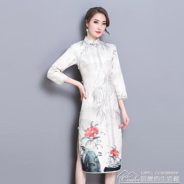 秋裝長袖旗袍裙中長款優雅中國風印花洋裝