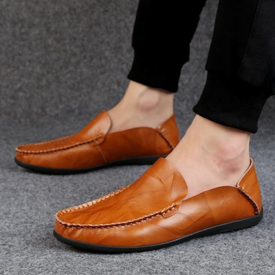 【時尚先生男裝】大碼男鞋大碼男鞋2020新款男士皮鞋休閑鞋男皮鞋豆豆鞋懶人鞋潮流 2005240189