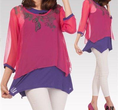 衣飾情緣。蘭陵桃紅/ 藍紫色二件式中國風雪紡長上衣 M號 基隆市