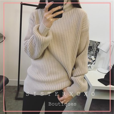 Sis KOREA style 韓國貨代購 簡約質感  優雅歐美風 女人味慵懶性感大高領 燈籠袖 設計感毛衣針織衫