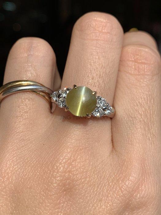 JING YUAN JEWELRY 微金線GIA金綠玉貓眼雙色鉑金鑽戒4.47ct  體色通透蜜糖黃 眼線靈活銳利 超優惠價格快搶