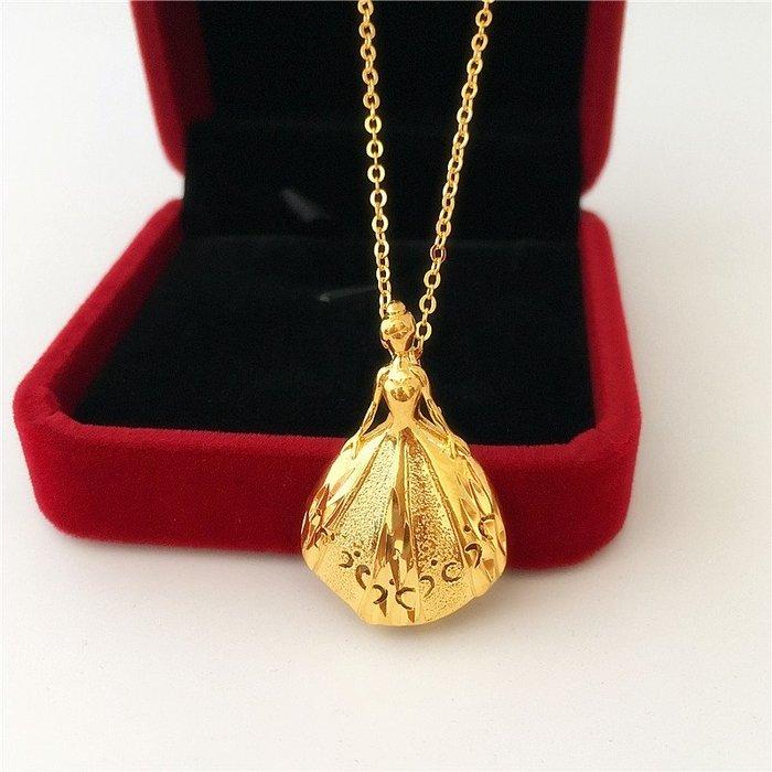 半島鐵盒~新款仿沙金女士項鏈 鍍K金公主女孩吊墜細項鏈仿黃金毆幣飾品