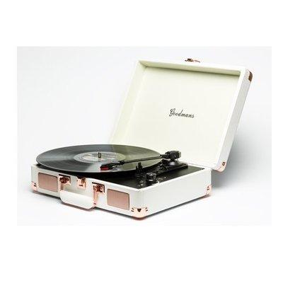 【福利品】Goodmans Ealing Turntable 英國手提箱黑膠唱片機 - 白色