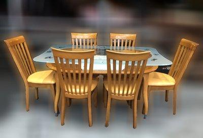 台北二手家具買賣 推薦 泰山宏品中古傢俱館* E012218* 原木色餐桌+6餐椅 * 二手中古 餐桌 邊桌 茶几 書桌