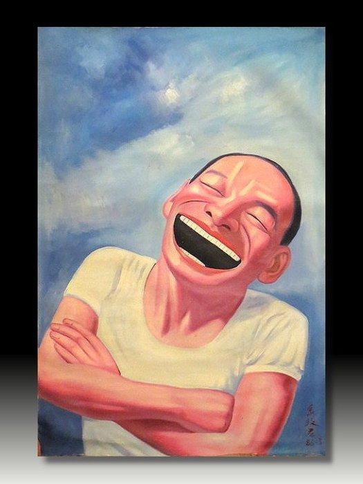 【 金王記拍寶網 】U785   九O年代當代亞洲藝術家 岳敏君款 手繪油畫一張 ~ 罕見 稀少 藝術無價~