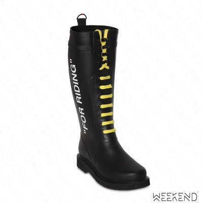 """【WEEKEND】 OFF WHITE Quote """"For Riding"""" 靴子 雨靴 黑色 18秋冬"""