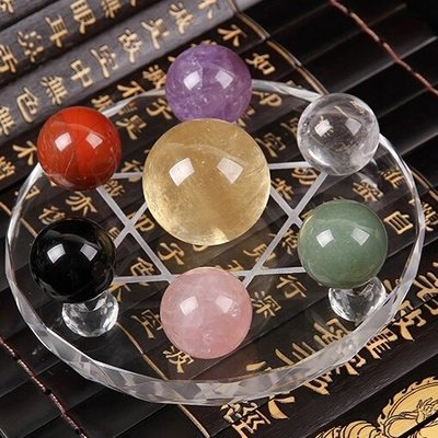 開光天然七色水晶球七星陣擺件紫粉白綠黃辟邪招財轉運招桃花鎮宅  限時免運