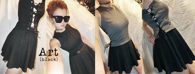 art black 歐美簡約時尚削肩腰綁帶背心