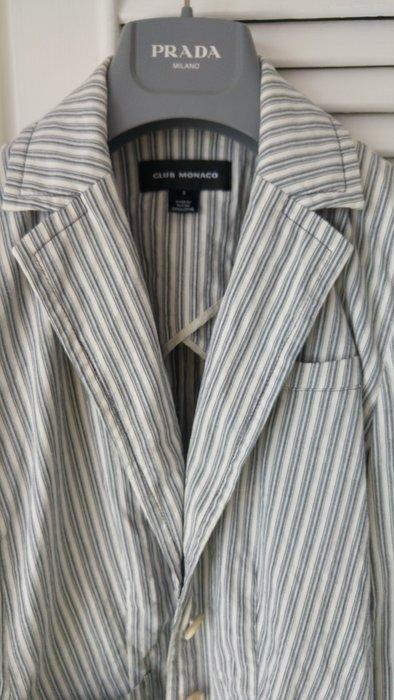 CLUB MONACO 白色藍條紋單排兩釦純棉西裝式外套
