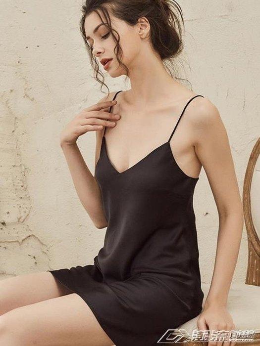睡衣睡裙女冰絲薄款性感絲綢吊帶打底中裙黑色火辣情調成人睡衣