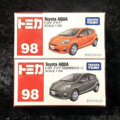 《GTS》TOMICA TOMY多美小汽車 NO98絕版Toyota AQUA初回+普通 39256-45037