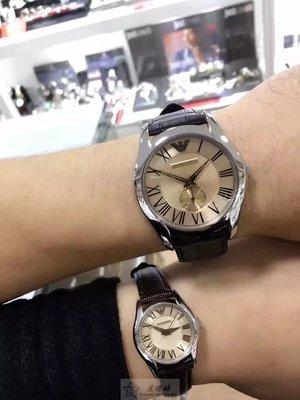 ARMANI手錶阿曼尼手錶Newness款,編號:AR9110,淺橘色錶面褐色皮革錶帶款