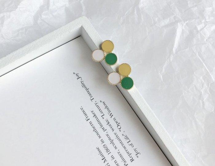 童趣撞色幾何耳環  黃色  綠色  白色 925純銀  銀針  銀飾  撞色設計  百搭耳環  飾品【小雜貨】