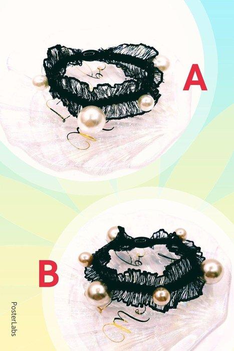 正韓國黑時尚美人 珍珠雪紡蕾髮束   韓國製
