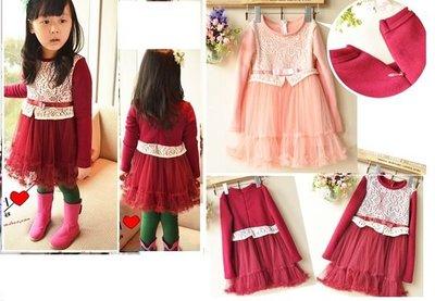 ※結束出清特賣※☆貝比HOUSE☆ 韓單蕾絲內加絨厚款連身裙裝(紅色5-13)