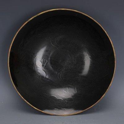 ㊣姥姥的寶藏㊣ 宋定窯黑定雕刻嬰戲圖包金邊大號碗  出土文物古瓷器古玩收藏擺件
