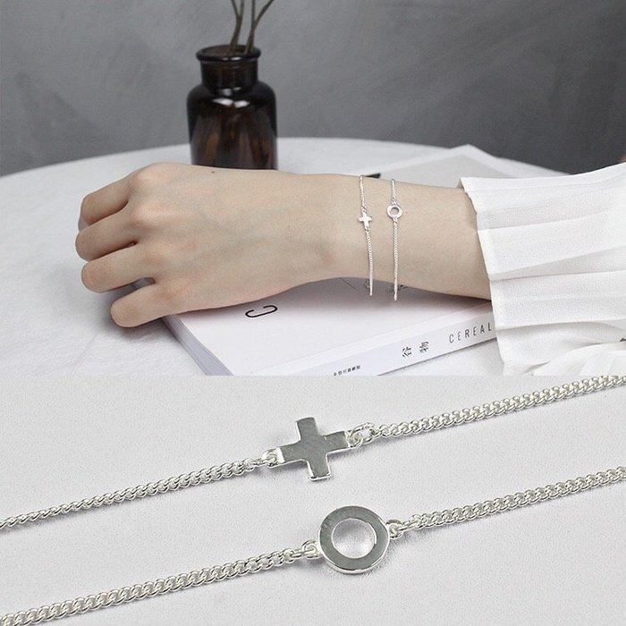《現貨》925純銀 幾何形十字架圓環鍊純銀手鍊 素銀光面小十字架細鍊手鍊 手環 生日禮物 情人節寵愛自己 Baonizi