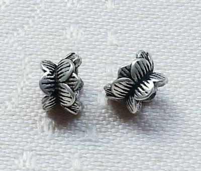 嗨,寶貝手創飾品工作室~ 925純銀飾 DIY串珠 ~雙頭蓮花造形 花形花托花蓋 小 ~兩個一起售