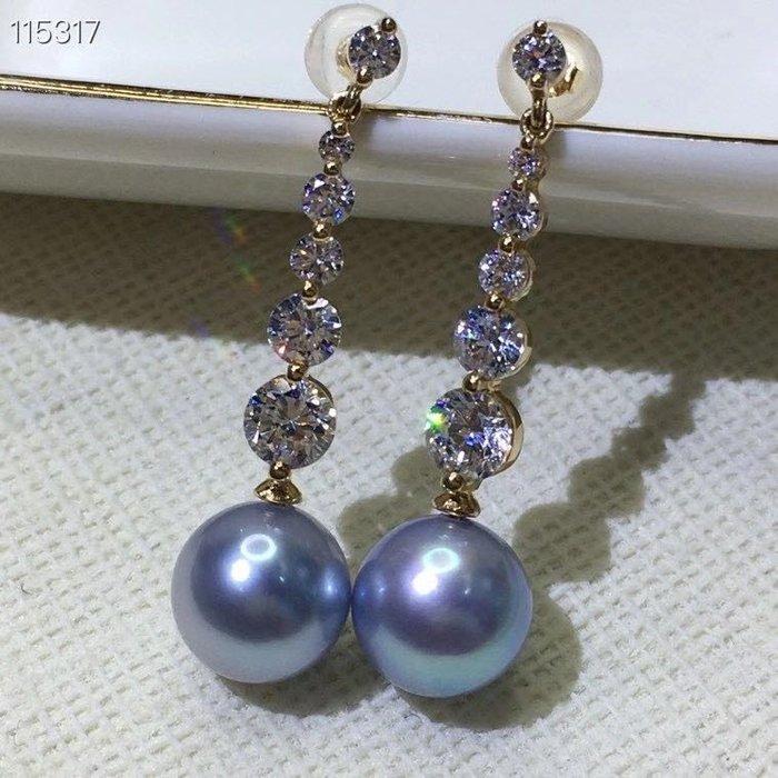 (輕舞飛揚)經典18K金海水珍珠耳墜,輕奢時尚款18k金鑲嵌天然海水真多麻珍珠,珠光超讚 珍珠搭配8-9MM左右.強光.極微瑕
