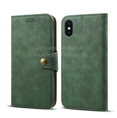 GooMea 特價出清1件iPhone XR 6.1吋 綠色 翻蓋插卡相框 皮套 可站立手機套手機殼保護套保護殼防摔套