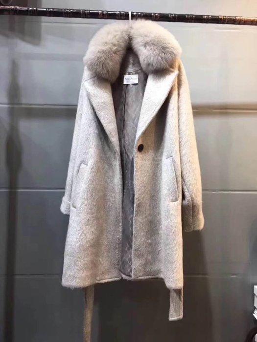 MaxMara款 羊駝10%灰長羊毛大衣