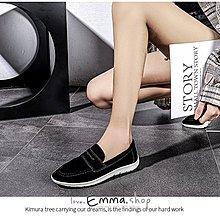 EmmaShop艾購物-早秋新品正韓同步上新復古英倫風磨砂真皮福樂鞋頭包鞋/休閒鞋/平底鞋/最大到40號
