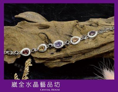 【崴全水晶】天然 彩色剛玉 寶石 銀飾 手鍊 【剛玉總重約 3.09cts】