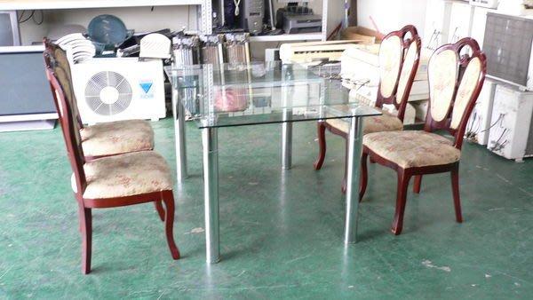 宏品二手家具館 庫存傢俱4折拍賣 *全新玻璃伸縮餐桌含2手餐椅*可當會議桌/咖啡桌/工作桌/戶外休閒桌