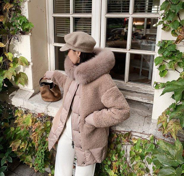 ❤JM SHOP韓風❤90白鴨絨顆粒毛連帽羽絨服