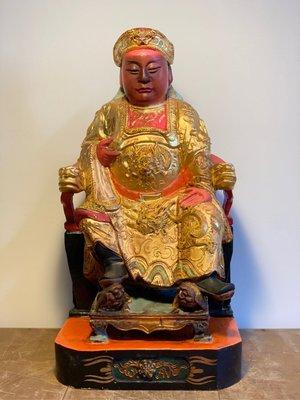 木雕 吳三王 吳府千歲 老神像 高1尺3 吳王 王爺千歲元帥