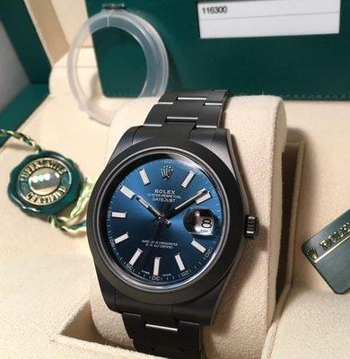 Rolex DLC 116300 放射藍面 DateJust ll 亂碼 跟 錶盒  100% New