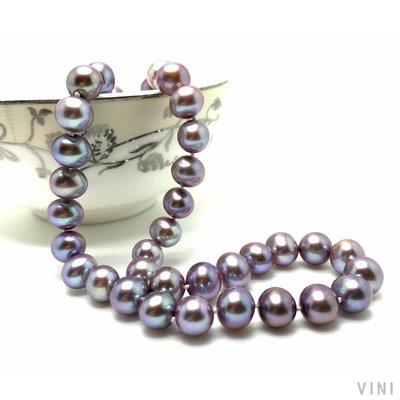 VINI 紫美 9-10mm近正圓形深紫色深粉色淡水珍珠項鏈 送媽媽款 正品女