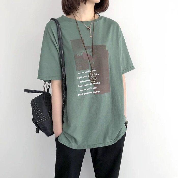 寬鬆印花純棉短袖T恤女休閒短袖上衣