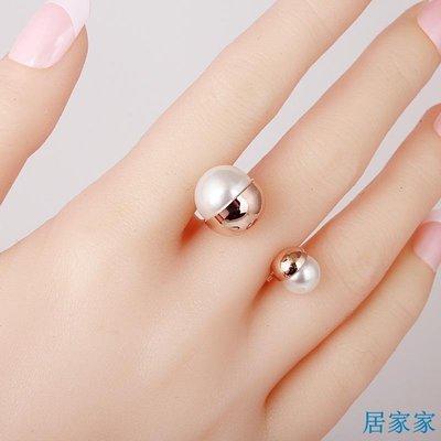 居家家 歐美夸張個性裝飾戒指女韓版時尚個性食指指環開口潮人珍珠配飾品