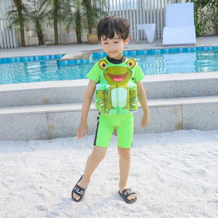 •*~ 辣媽咪衣飾小舖 ~*•❤泳裝系列 📣C550798可愛卡通兒童浮力泳衣(附泳帽)---青蛙