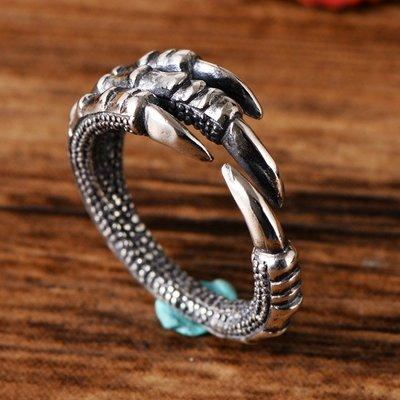 加恩S925純銀手飾品泰銀仿古做舊 潮牌大師原版復刻龍爪男士戒指指環-zz09