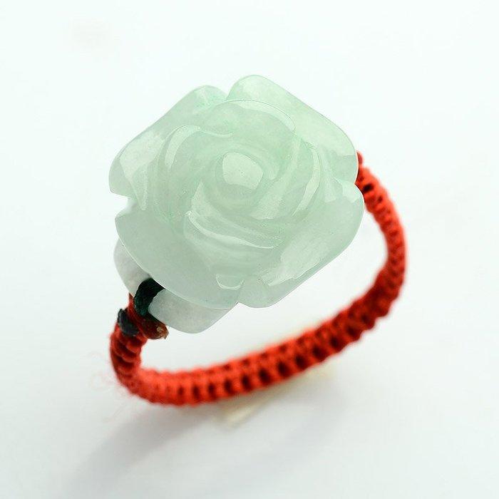 【福寶堂】緬甸翡翠戒指隨機一手貨 天然a貨花戒女款手工個性編織玉戒指特價