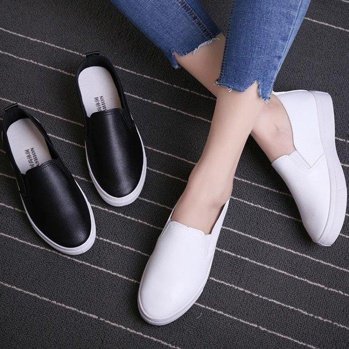 樂福鞋 春季黑白色套腳樂福鞋韓版潮皮面一腳蹬懶人鞋女平底休閒板鞋