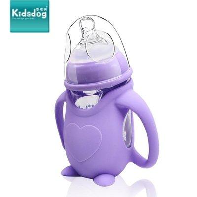 哆啦本鋪 企鵝型玻璃寶寶寬口徑防摔奶瓶帶手柄防脹氣新生兒嬰兒保護套正品 D655