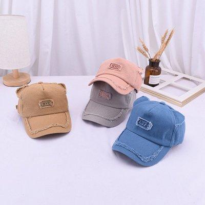 [依哲]2002現貨7-11全家快速到貨棒球帽兒童款遮陽帽帽子潮帽韓版卡通貓耳朵棒球帽子秋天寶寶做舊牛仔帽兒童60