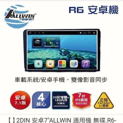 "2DIN 安卓7""ALLWIN 通用機 無碟.R6-00001"