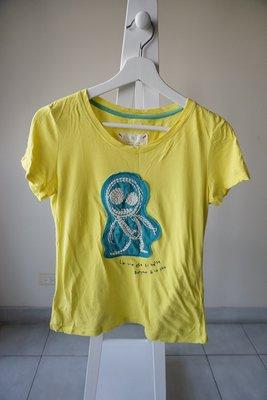 轉賣 a la sha 阿財造型圓領短袖T恤 sizeS 黃綠色