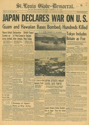 (徐宗懋圖文館) 二戰1941年12月8日 美國報紙《St. Louis Globe-Democrat》原件