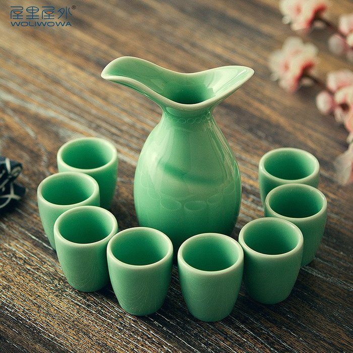 預售款-LKQJD-創意中式青云樽白酒酒具套裝仿古青瓷酒杯陶瓷酒壺家用黃酒喝酒杯