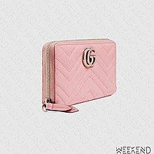 【WEEKEND】 GUCCI GG Marmont 皮革 拉鍊 皮夾 長夾 卡夾 淡粉色 443123