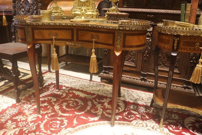 【家與收藏】稀有珍藏歐洲百年古董法國19世紀古典華麗精緻手工Inlay木拼花銅金鑲嵌寫字桌